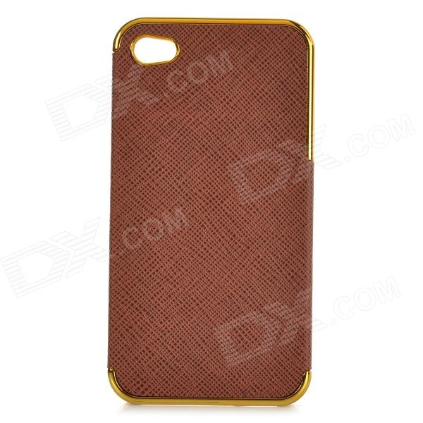 Protective PU + Resin Back Case for IPHONE 4 / 4S - Brown + Champagne Gold stylish bubble pattern protective silicone abs back case front frame case for iphone 4 4s