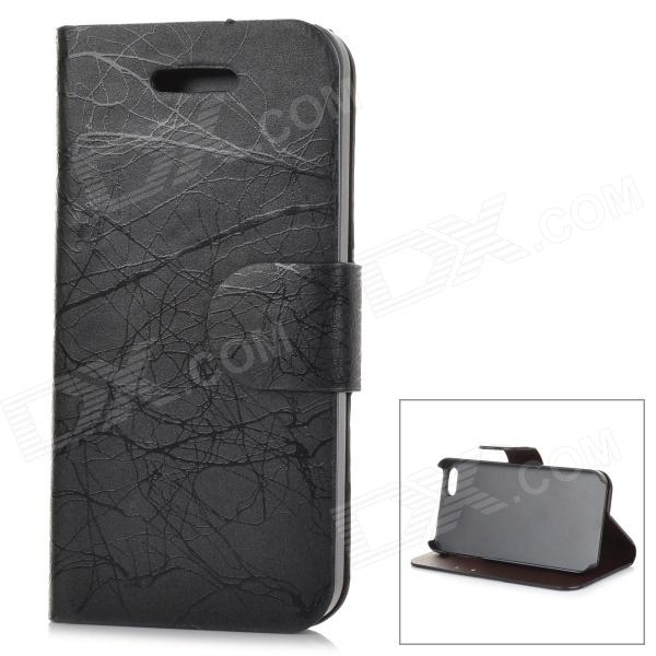 Stylish Protective Flip Open PU + PC Case w/ Stand / Card Slots for IPHONE 5 / 5S - Black stylish pattern protective flip open pu leather case w stand card slots for iphone 6 4 7 white