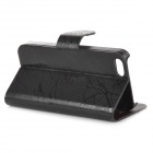 Stylish Protective Flip Open PU + PC Case w/ Stand / Card Slots for IPHONE 5 / 5S - Black
