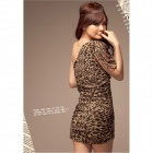 HDT-H517 Stylish Leopard Pattern Single Shoulder Milk Silk Party Dress - Leopard