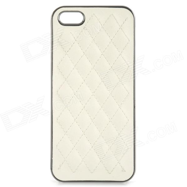 Rhombus Pattern Protective PU + Resin Back Case for IPHONE 5 / 5S - White