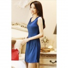 YX-0110 Fashion Sleeveless Blended Cotton Dress - Deep Blue (L)