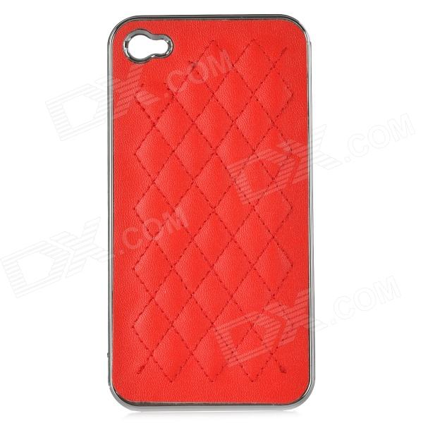 cqda Stylish Rhombus Pattern Protective Back Case for IPHONE 4 / 4S - Red cartoon pattern matte protective abs back case for iphone 4 4s deep pink