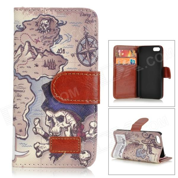 Retro Skull Island Pattern Protective PU Leather Case w/ Stand for IPHONE 5 / 5S - White + Coffee protective pu leather pouch bag for iphone 5 4 4s coffee