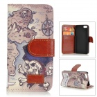 Retro Skull Island Pattern Protective PU Leather Case w/ Stand for IPHONE 5 / 5S - White + Coffee
