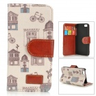Retro Cartoon Pattern Flip Open PU Case w/ Stand / Card Slots for IPHON 5 / 5S - White + Light Grey