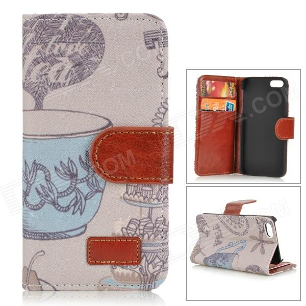 все цены на Cup Pattern Protective PU Leather Case w/ Stand for IPHONE 5 / 5S - Grey + Multicolored онлайн