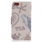Cup Pattern Protective PU Leather Case w/ Stand for IPHONE 5 / 5S - Grey + Multicolored