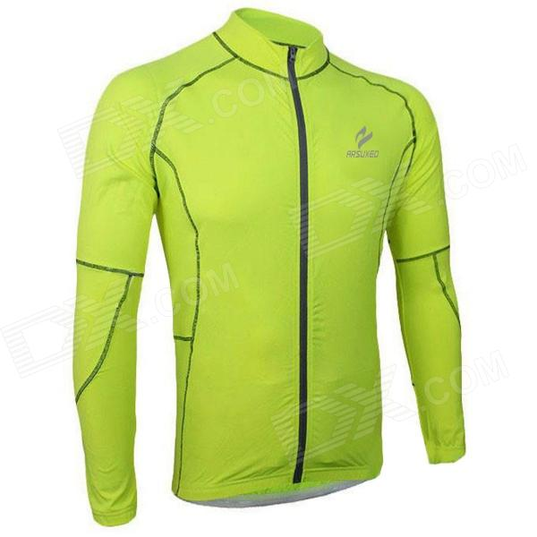 ARSUXEO 60017 Women's Cycling Running Long-sleeves Jersey Shirt - Fluorescent Green (XL) arsuxeo ar608s quick drying cycling polyester jersey for men fluorescent green black l