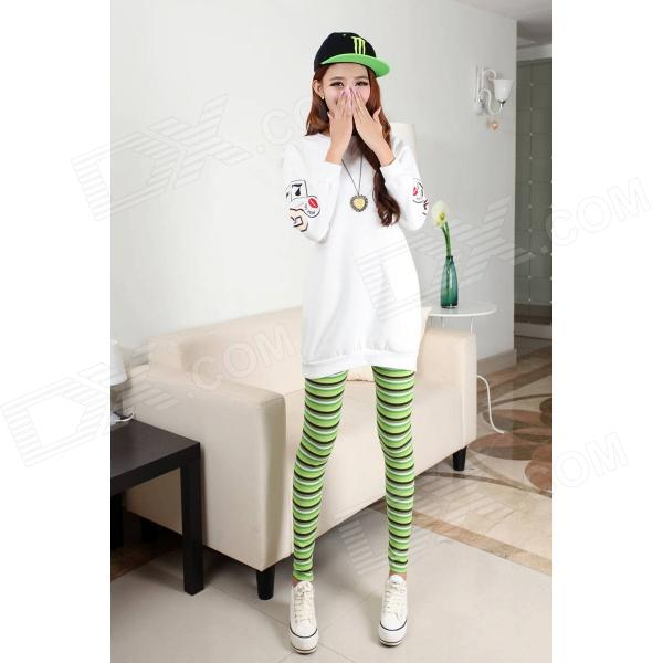 Cqda Stripe Pattern Blended Cotton Leggings - Green + White + Black (M)