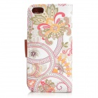 Flower Pattern Protective PU Leather Case w/ Stand for IPHONE 5 / 5S - White + Multicolored