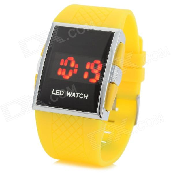 Shifenmei 1091 Casual Zinc Alloy Case PU Band Digital LED Wrist Watch - Yellow + Silver