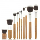 MAKE-UP FOR YOU Portable Professional Cosmetic Makeup Brushes Set - Black + Yellow (10 PCS)