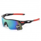 OULAIOU Sports UV400 Protection PC Lens Plastic Frame Sunglasses - Chrome Silver + Black + Red