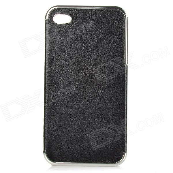 cqda Protective ABS + PC Back Case for IPHONE 4 / 4S - Black + Silver stylish 3d death reaper pattern protective abs pc pet back case for iphone 4 4s black