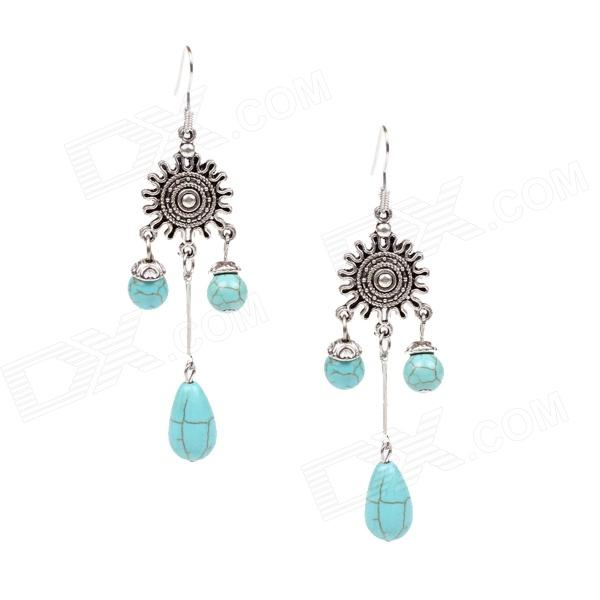 SE016 Fashionable Women's Vintage Style Drop Earrings - Green + Sliver (Pair) equte epew22h1 fashionable vintage turquoise dangle earrings green silver pair