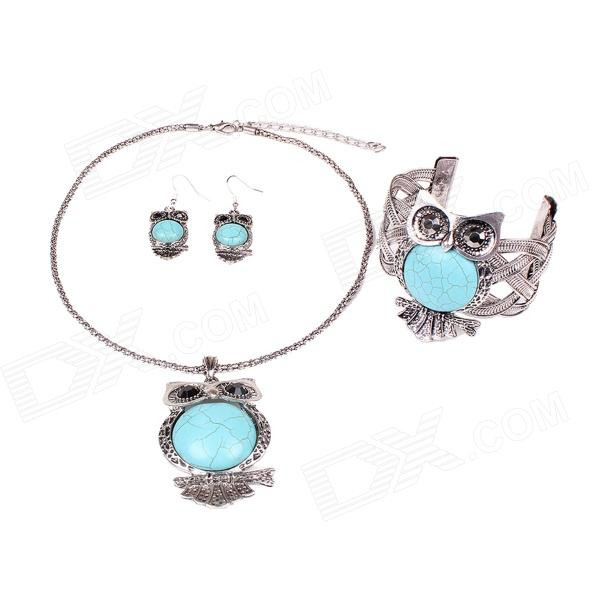 MN1630 Fashionable Womens Owl Style Necklace + Earring + Bracelet - Green + Silver смартфон meizu pro 7 plus 64gb серебристый m793h 64gb crystal silver