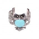 MN1630 Fashionable Womens Owl Style Necklace + Earring + Bracelet - Green + Silver