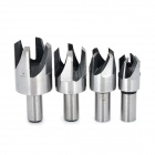 British System Round Handle Carbon Steel Wood Plug Cutter (4 PCS)