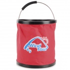 WindTour Portable Outdoor Folding Plastic + Oxford Fabric Pail Bucket for Camping / Fishing - Red