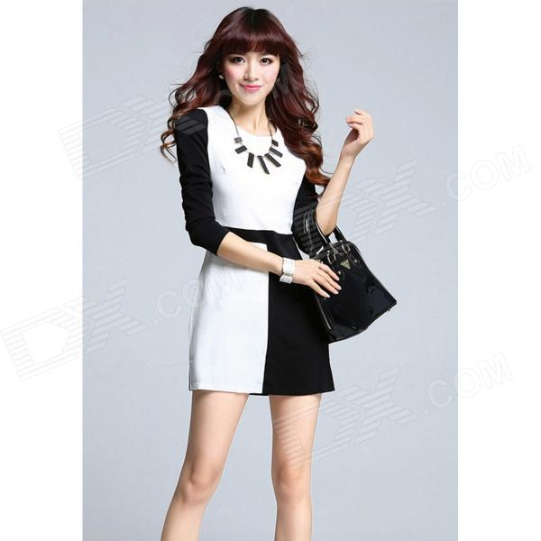 YX-6037 Stylish Slim Cotton Blended Mini Dress - Black + White (M) men s stylish custom fitting cotton blended shirt black xl
