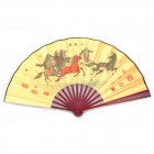 MDCG001 Horses Pattern Bamboo + Paper Folding Fan - Light Yellow + Multicolored