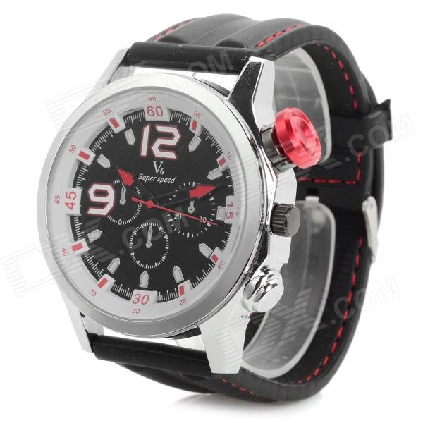 V6 v0144 Sports Quartz Analog Wrist Watch for Men - Black + Red + Silver (1 x 626)