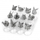 Chinese Horoscope Animal Head Style Tin Base Crystal Cups - White + Silvery Grey (25ml)
