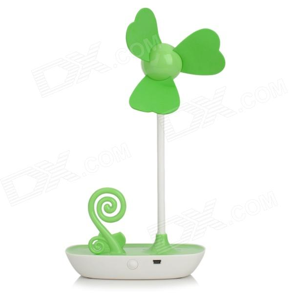HAPTIME HAPTIME Desktop 3-Blade Fan w/ Mobile Phone Holder - Green + White