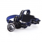 YP-3905 LED 600lm 3-Mode White Zooming Headlamp - Black + Deep Blue (1 / 2 x 18650)