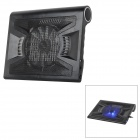 Hunpol NB-090 900RMP 13-Blade Fan Cooling Pad w/ 3-USB Port / LED / Speaker for Laptops - Black