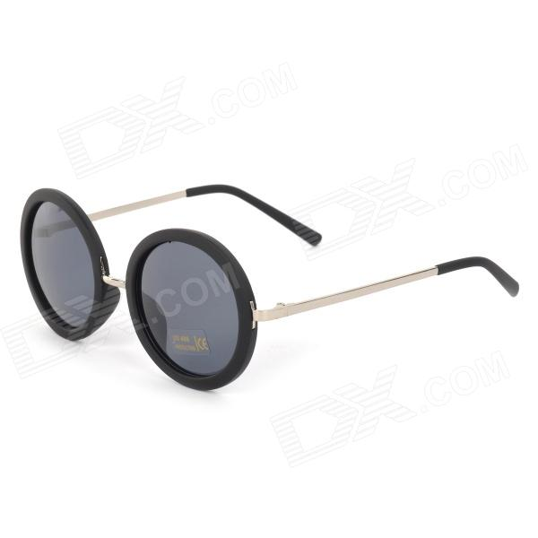 Round Retro UV400 Protection Resin Lens Plastic Frame Sunglasses - Black + Grey fashion uv400 protection round shape resin lens sunglasses wine red