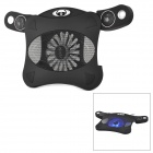 Hunpol NB-081 USB Powered Blue LED Light Cooling Pad 1-Fan Cooler w/ Speaker for Notebook - Black