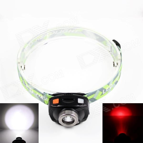 SiPiDS S10 1-LED White + 2-LED Red 2-Mode Headlamp - Black + Fluorescent Green (3 x AAA) yage headlight led flashlight fishing light head lamp for hunting mini touch 2 mode switch convenient specialized outdoor lamp