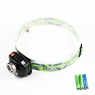 SiPiDS 1-LED White + 2-LED Red 2-Mode Headlamp - Black + Fluorescent Green (3 x AAA)