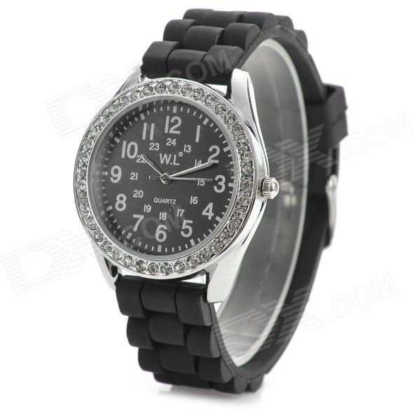 M752J Fashionable Water Resistant Analog Quartz Wrist Watch - Black + Silver