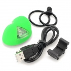 ET Style Rechargeable 2-LED 3-Mode Memory Green Light Bike Tail Lamp - Green