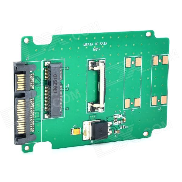 Mini PCI-E/mSATA to SSD 2.5'' SATA3 Adapter - Green + Black