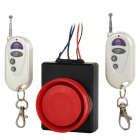 Vibration Motorcycle Burglar Alarm w/ Dual Remote Controller - Red + Black
