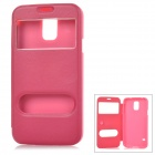 Protective PU Leather Full Body Case w/ Two Windows for Samsung Galaxy S5 - Deep Pink