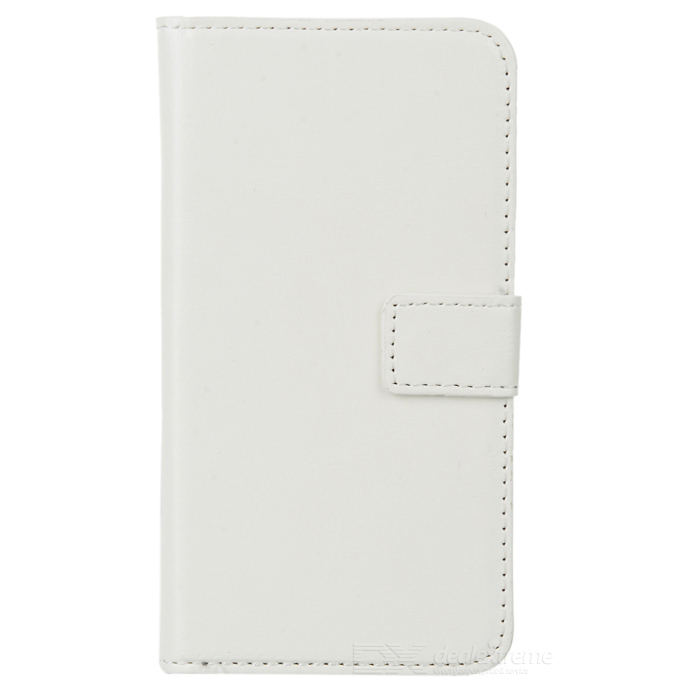 Protective PU Leather + Plastic Full Body Case w/ Stand / Card Slots for Samsung Galaxy S5 - White