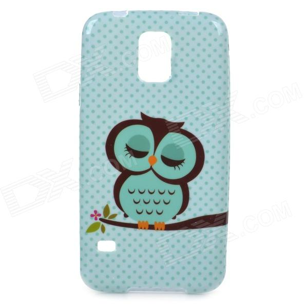 Cute Cartoon Owl Pattern TPU Back Case for Samsung S5 - Green owl pattern protective tpu back case for samsung galaxy s5 green black