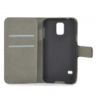 Protective PU Leather + Plastic Full Body Case w/ Stand / Card Slots for Samsung Galaxy S5 - Black