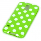 Sweet Polka Dot Pattern Plastic Back Case for Samsung S5 - Green + White