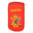 1222 Patterned World Cup Accessory Mercerized cotton Cellphone Pouch Bag - Red + Yellow