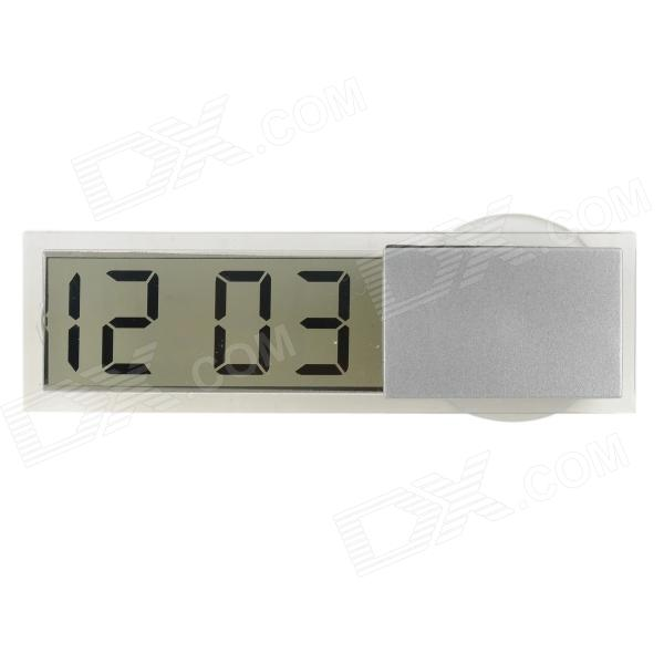 "K-033 Plastic 2.2"" LCD Clock w/ Suction Cup - Silver + White (LR1130)"