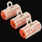 3cm Double-Layer Plastic Manual Hair Curlers Rollers - White + Orange Red (3 PCS)