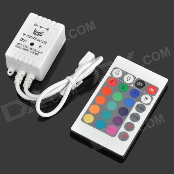 72W 6A 3-CH IR 24-Key Remote Controller - White + Multicolored (12~24V)