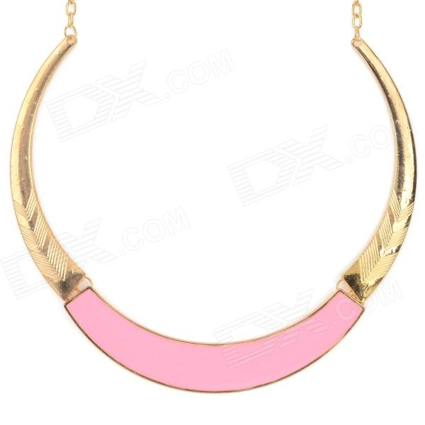 Women's Fashionable Tribal Style Zinc Alloy Necklace - Golden + Light Pink frosted zinc alloy beads pendant necklace for women golden silver