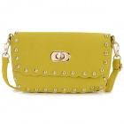 Women's Fashionable Punk Style Rivet Shoulder Bag Messenger Bag - Yellow
